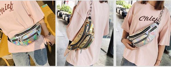 NEW Fashion Sport Style Unisex Laser Translucent Waist Bag Chain Waterproof Rainbow Hologram PU Metallic Silver Fanny Packs Waist Bags DHL