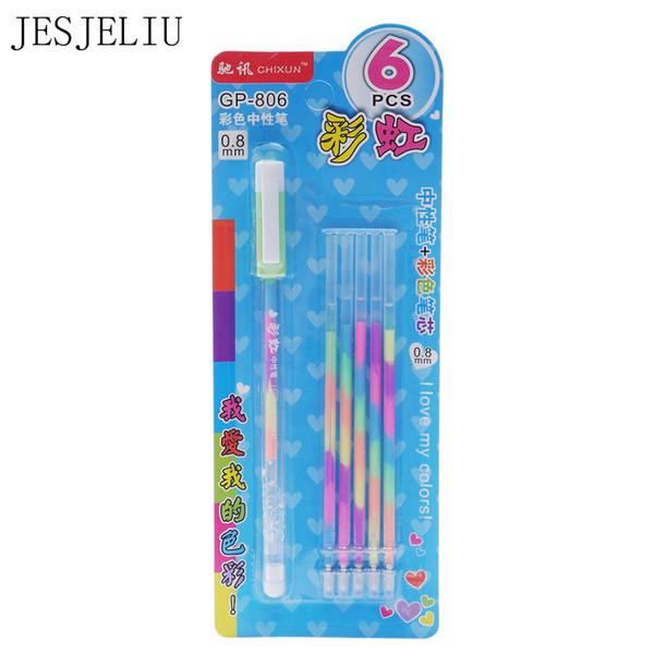 1 Pen + 5 Refill/Set Watercolor Chalk Gel Pen Diy Decoration For Album Color Pens Set Korean Stationery School Suplies