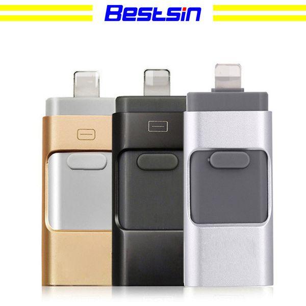 Bestsin 3 en 1 memoria flash USB Lightning Micro USB interfaz 16G 32G 64G 128G para iphone y android