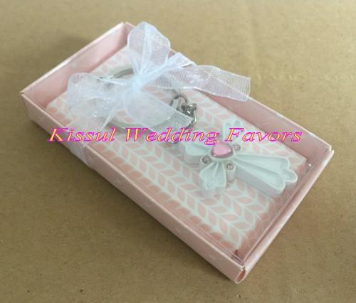 (100 Pieces/Lot) Wedding and Party Communion Favors of Cross Key Chain blessing time favor for Bridal showers and Birthday Gift
