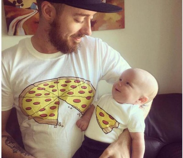 top popular Popular Family Matching Outfits Mother kids Cute Pizza Cotton Short Sleeved T - shirt Family Clothing Summer Father Mother Baby Clothes 2019