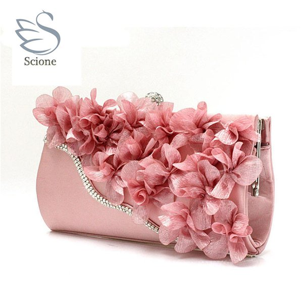 new color crystal evening day clutches flower wedding bags evening bag full dress party handbag bride bag purse lady gift 99t