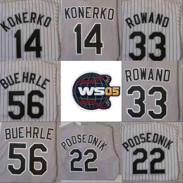 Jersey de beisebol de campeões WS 2005 Chicago AJ PIERZYNSKI PAUL KONERKO SCOTT PODSEDNIK JOE CREDE FRANK THOMAS VENDA DE CHRIS MARK BUEHRLE Jerseys
