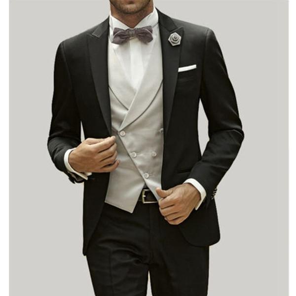 sports shoes cd49e 0a7b1 Mens Suits Wedding Groom Abito Uomo Smoking Sposo Su Misura Nero Damascato  Accanto Ad Una Abito Da Sposa Mens Black Tie Attire Mens Black Tuxedo From  ...