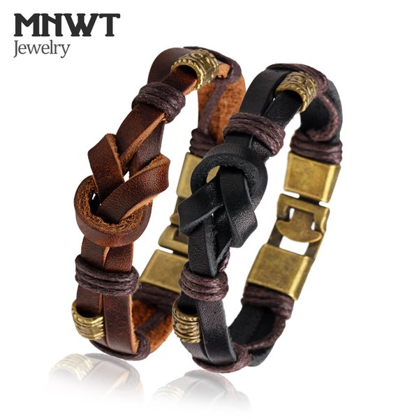 Vintage Men Leather Fashion Bracelets Black Brown Wrap Bracelets Punk Male Rope Chain Pulseira Masculina Charm Jewelry