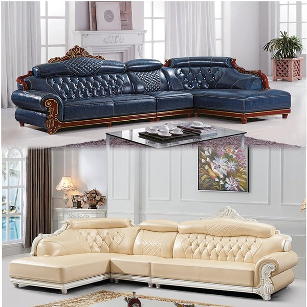 2019 Leather Sofa Living Room Small Apartment Corner Chaise Longue Solid  Wood Top Layer Cowhide Combination Furniture From Guohujiaju, $502.52 | ...