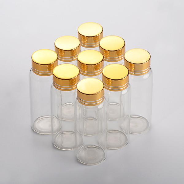27*70mm 24pcs 25ml Glass Bottles Aluminium Screw Golden Cap Empty Transparent Clear Liquid Gift Container Wishing Bottle Jars