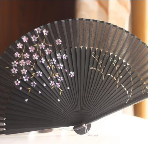 Silk Hollow Rib Hand Fan Japanese Folding Fan Pocket Sakura Painted Dance Fan Unisex Free Shipping