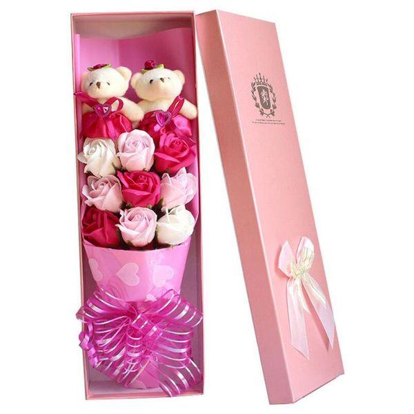 9 urso boneca rosa sabão buquê caixa de presente Dia dos Namorados presente de aniversário sabão flor atacado