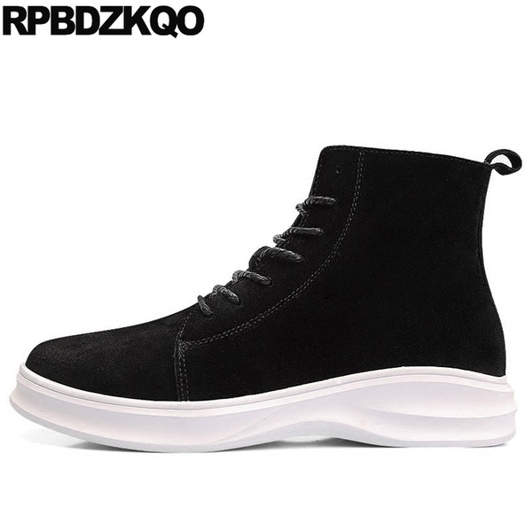 Lace Up Black High Sole Shoes Men Ankle Platform Booties Winter Fur Boots Top Suede Warm Flat Short Male 2017 Fashion