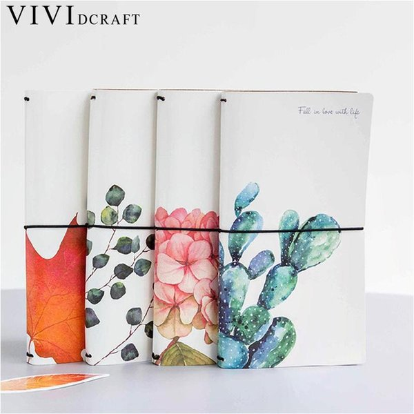 Vividcraft Creative Cactus Leaves PU Leather Cover Planner Notebook Diary Book Exercise Composition Binding Note Notepad Gift