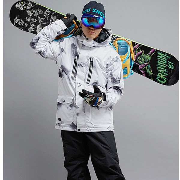 Gsou Snow Snowboard Jacket Men's Winter Windproof -35 Warm Outdoor Tops High Quality Ski Tops Men Free Shipping size S M L XL