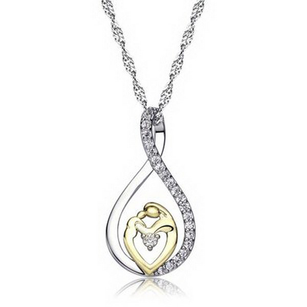 "Fashion Mother and Child Love ""Mom""Pendant Necklace for Women Fashion AAA Zircon Charm Necklace of Mother's Day Gift Free Shipping"