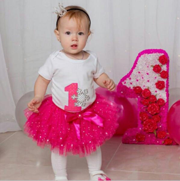 80963ed88aa09 Nouveau Né 1er Anniversaire Tenues Bébé Baptême Vêtements Partie Vêtements  Enfants Vêtements Années Tutu Infantile Bébé