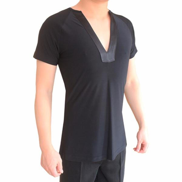 Bonne qualité Latin Dancing Shirts pour hommes Plus de couleur 2 Style Sleeves Tops pour hommes Professional Ballroom Practice porte Q7036