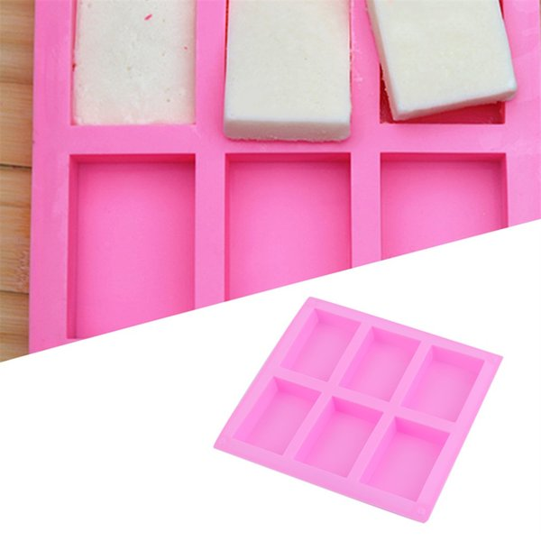 Silicone Handmade Soap Mold 6 Holes Rectangular Pastry Molds 100ml Silicone Cake Bakeware Molds Tools