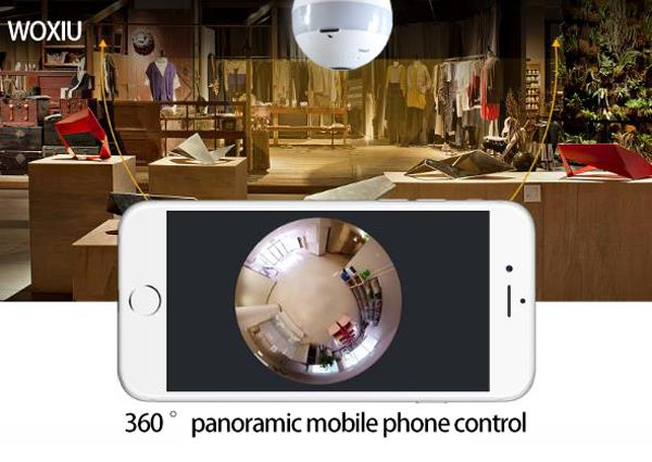 WOXIU Camera Panoramic Bulb Wifi Light Hidden Security Ip Fish eye 360 Degree 1080p monitoring for Birthday Party Decoration Valentine Gift