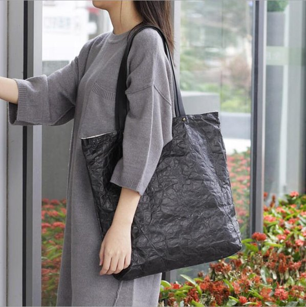 New Korean Large Capacity Handbags Leisure Solid Color Shoulder Bag High-end Retro Kraft Paper Messenger Bag Women Big Tote Ba Free shipping