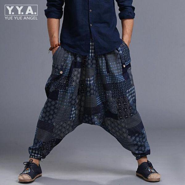Hot Sale Mens Samurai Boho Casual Loose Harem Baggy Hakama Linen Japanese Pants Floral Printed Elastic Waist Cross-pants For Men