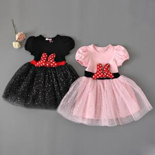 Children's puff sleeve girls mesh princess pakids gown girl prom with big bow sequins baby lace dressrty tutu dresses