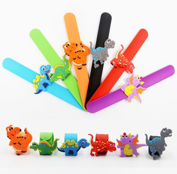 Hot Colorful Dinosaur Flexible Silicone Slap Snap Wrap Bracelet Wristband Jewelry Kids Cute Gift Free Shipping