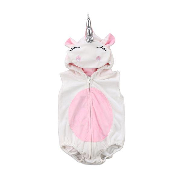 Kostüm-neugeborenes Baby-Mädchen-3D Einhorn-Sleeveless Bodysuit-Vlies-Overall-Pullover Hooded Outfits Größe 0-24M