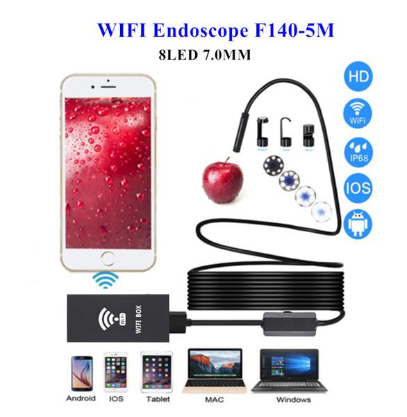 Беспроводной эндоскоп для Iphone Android телефон бороскоп 7 мм объектив 5 м Wifi инспекции эндоскоп камеры