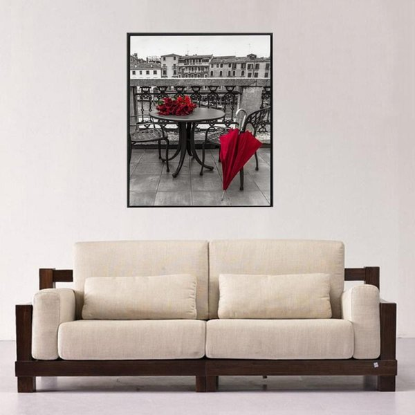 Full square round diamond painting red umbrella rose table 5D DIY diamond embroidery cross stitch rhinestone mosaic decoration picture gift