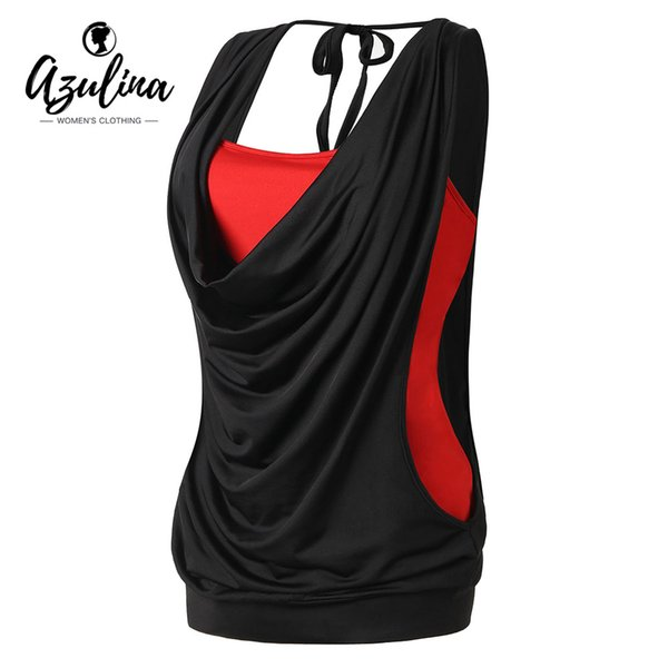 51652ee94df AZULINA Plus Size Draped Neck 2 In 1 Tank Top Summer Women Tops Causal Cowl  Neck