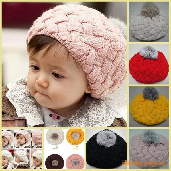 Bebek Şapka Pom pom Pembe Örgü Şapka Kızlar Kasketleri Kış todder Çocuklar Faux Sıcak Tığ Cap 5 M-5 yıl çocuk Aksesuarları