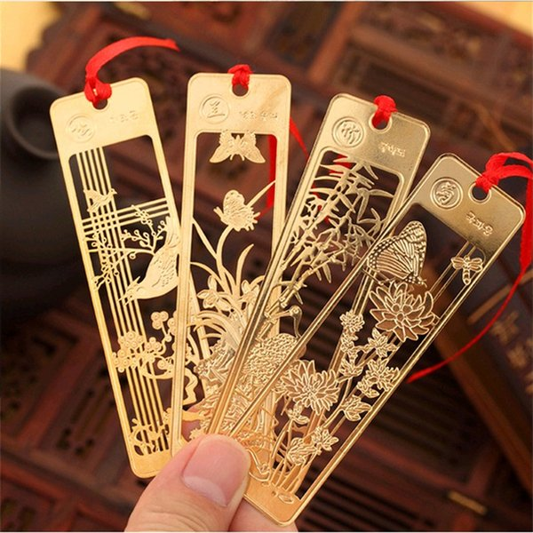 Chinese Style Metal Bookmarks golden bookmarks plum blossoms, orchid, bamboo and chrysanthemum metal Bookmarks with tassel