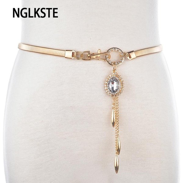 NGLKSTE New Ladies metal elastic waist chain drop drop pendant gold / silver waist belt fashion casual dress accessories