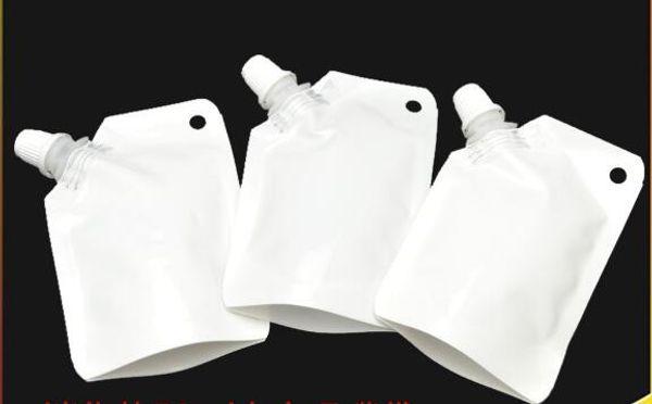 50 ml weiß kunststoff doypack flüssigkeit stehen aufbewahrungstasche verpackung tasche mit Side Auslauf kostenloser versand