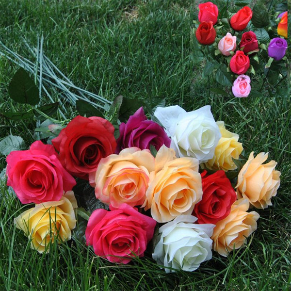 Christmas Decoration Artificial Rose Silk Craft Flower Real Touch Flower for Wedding Christmas Room Decoration 10 Colors Cheap Sales New Sty