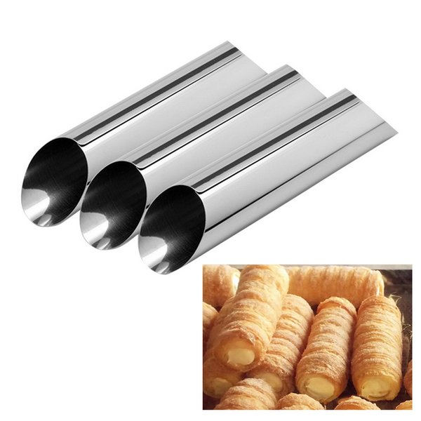 Hoomall Baking Cones Stainless Steel Spiral Croissant Tubes Horn bread Pastry Making Cake Mold Baking Supplies Kitchen Tool