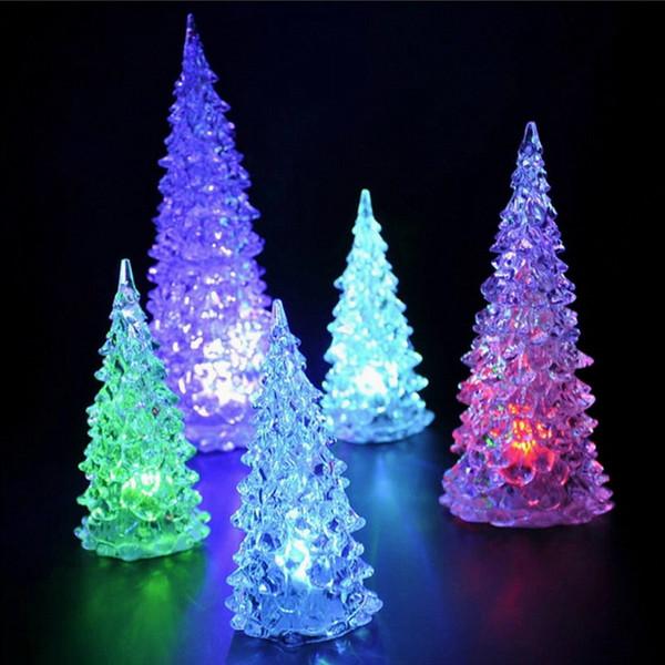 FREE SHIPPING Seven color allochroism flash lighting acrylic romantic christmas tree small night light mini home gifts