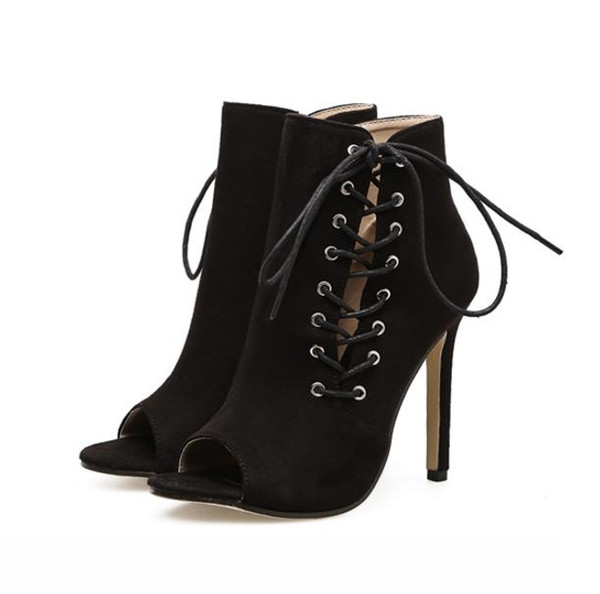 Trendy lace up on side black high heels ankle bootie peep toe faux suede 2018 new size 35 to 40