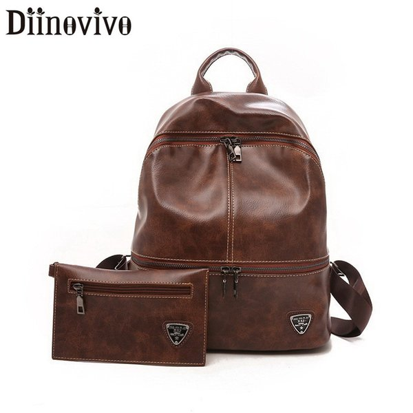 Diinovivo Vintage Composite Bag Backpack Female Soft PU Leather Backpack Women Fashion Style School Bags For Teenage Girl LBF258