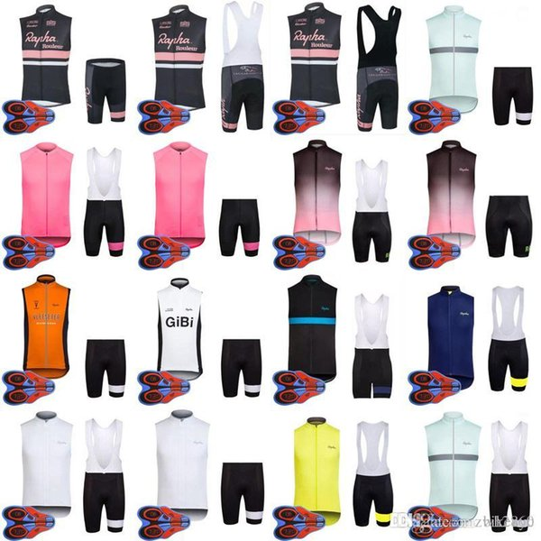 2018 Hot New RAPHA team Cycling Sleeveless jersey Vest (bib)shorts sets MTB bike ropa ciclismo Breathable racing wear D1351