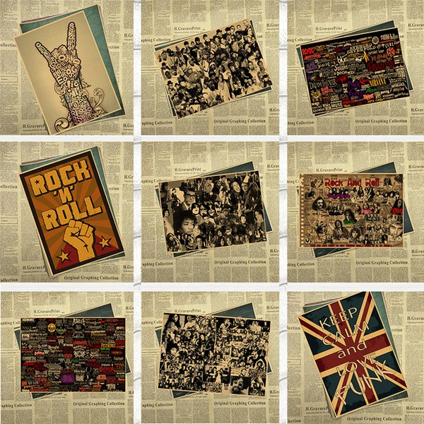 Keep Calm Rock and Roll Vintage Retro rock collection poster Bar Cafe poster decorative painting 42*30cm