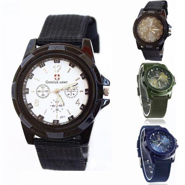 Hombre reloj Gemius Army Racing Force Sport Reloj de pulsera de tela para hombre Relojes azules Tela de marca de lujo Reloj masculino relogio