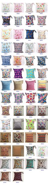 54 colors Baby Waterproof double Zippered Wet Dry Diaper Bag Owl Chevron Printed Wet and Dry Diaper Bags Wet Swimsuit Bag A046
