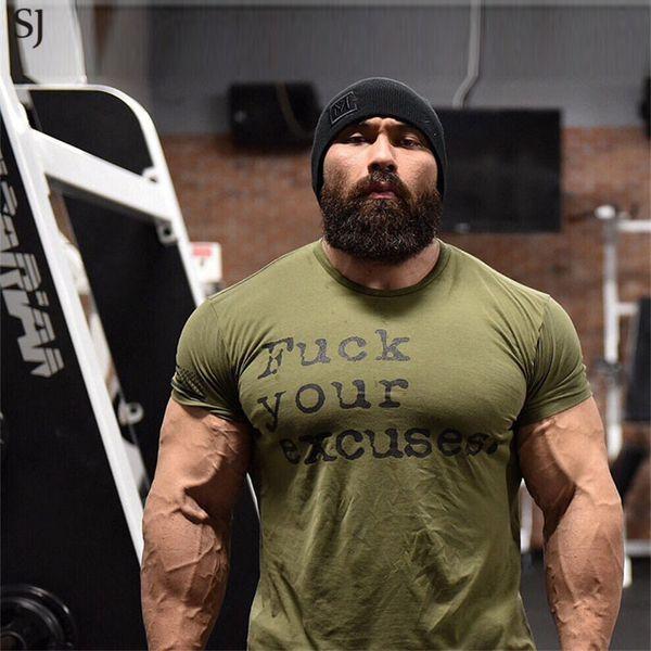 SJ Brand Mens muscle T shirt bodybuilding fitness men tops cotton singlets Plus Big size TShirt Short Sleeve Tshirt JLT07