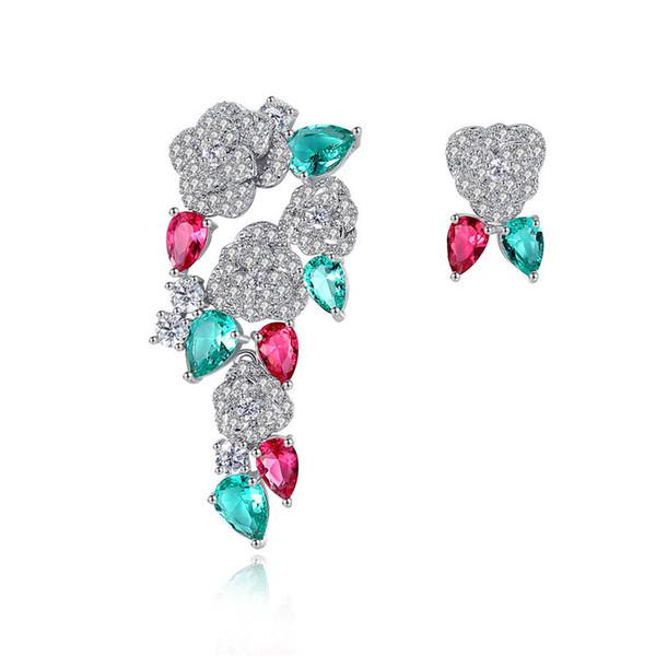 Shining Crystal CZ Pendientes de flores para mujer Moda Camelia Stud Pendientes Diseñador de la marca Joyería Envío gratis