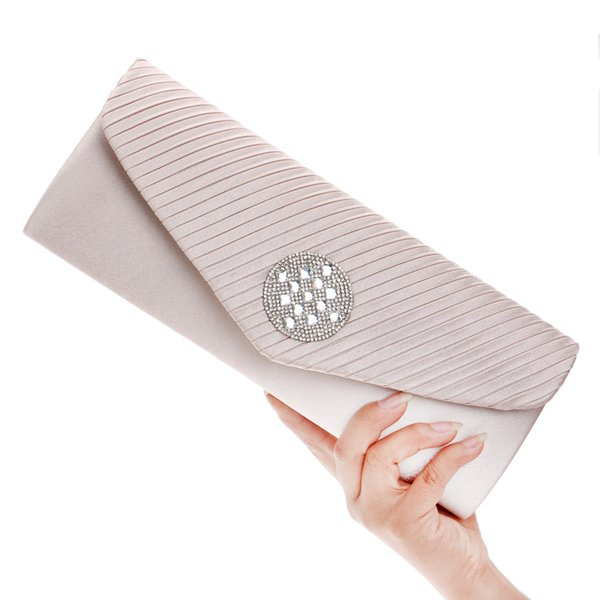 Mrs win Women Pleated Evening Hand Bag Crystal Dressed Clutch Bags Wedding Party Chain Purse Small Handbag Mini Day Clutches YH6