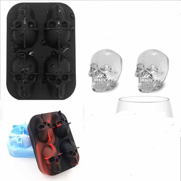 Skull Shape 3D Ice Cube Mold Maker Bar Party Silicone Trays Case Halloween Cake Candy Mould Kitchen Tool Gift 8 colors Choose 12*8.5*5cm