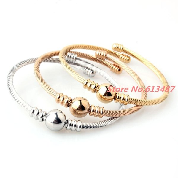 Wholesale- Fashion Style 3pc/set Silver Gold Rose Gold Mix 3mm Twisted Cuff Bangle 316L Stainless Steel Bracelet For Womens Girls Jewelry