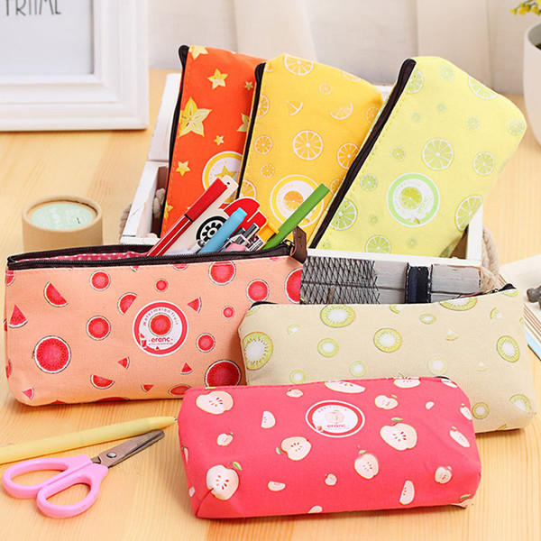 New cute kawaii Candy Color fruit pen pencil case canvas Multifunction stationery zipper bag School Supplies Free shipping BD28