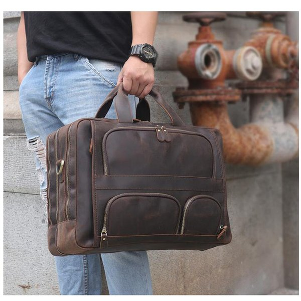 ANAPH Vintage Crazy Horse Big Briefcases For Men Business Genuine Leather Travel Bags With Multi-pockets 17 Inch Laptop Bag