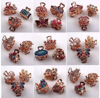 Fancy Hair Claw Clips For Girls /Ladies Mixed Lot Full Rhinestone Gold Claw Pins Head Piece